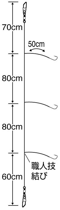職人技メバル50cmハリス3本
